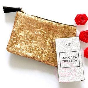 Pur Mascara Trifecta Trio + Gold Cosmetic Bag